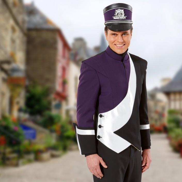 marchingband-uniform-lila-schwarz-weiss-mit-tschako-705x705,  Marchingband